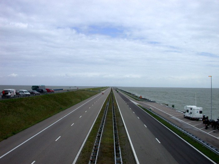20040623001 - Crossing the Afsluitdijk: A Blustery Storm Off the North Sea at Our Backs