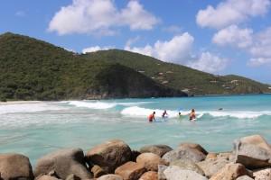 Catching a wave at Josiah's Bay: BVI Beaches