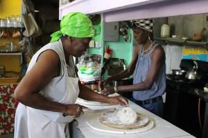 Miss Naomi preppy some Johnny Cake: BVI Beaches: Josiah's Bay