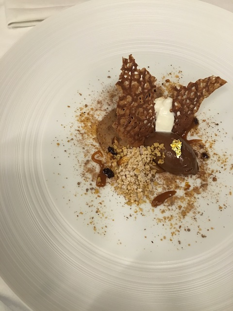 Llangoed Hall's Smoked Ice cream , Cocoa Nib, aramel Sauce
