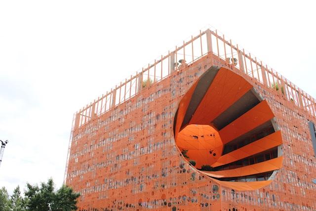 Jakob MacFarlane's Orange Cube in Lyon's Confluence