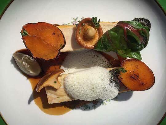 Heritage Hen, Stone Fruit, Foraged Mushroom, Bone Veloute. Image courtesy of Jason Bangerter