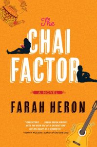 Front cover of the Chai Factor with a woman and a man leaning against the words.